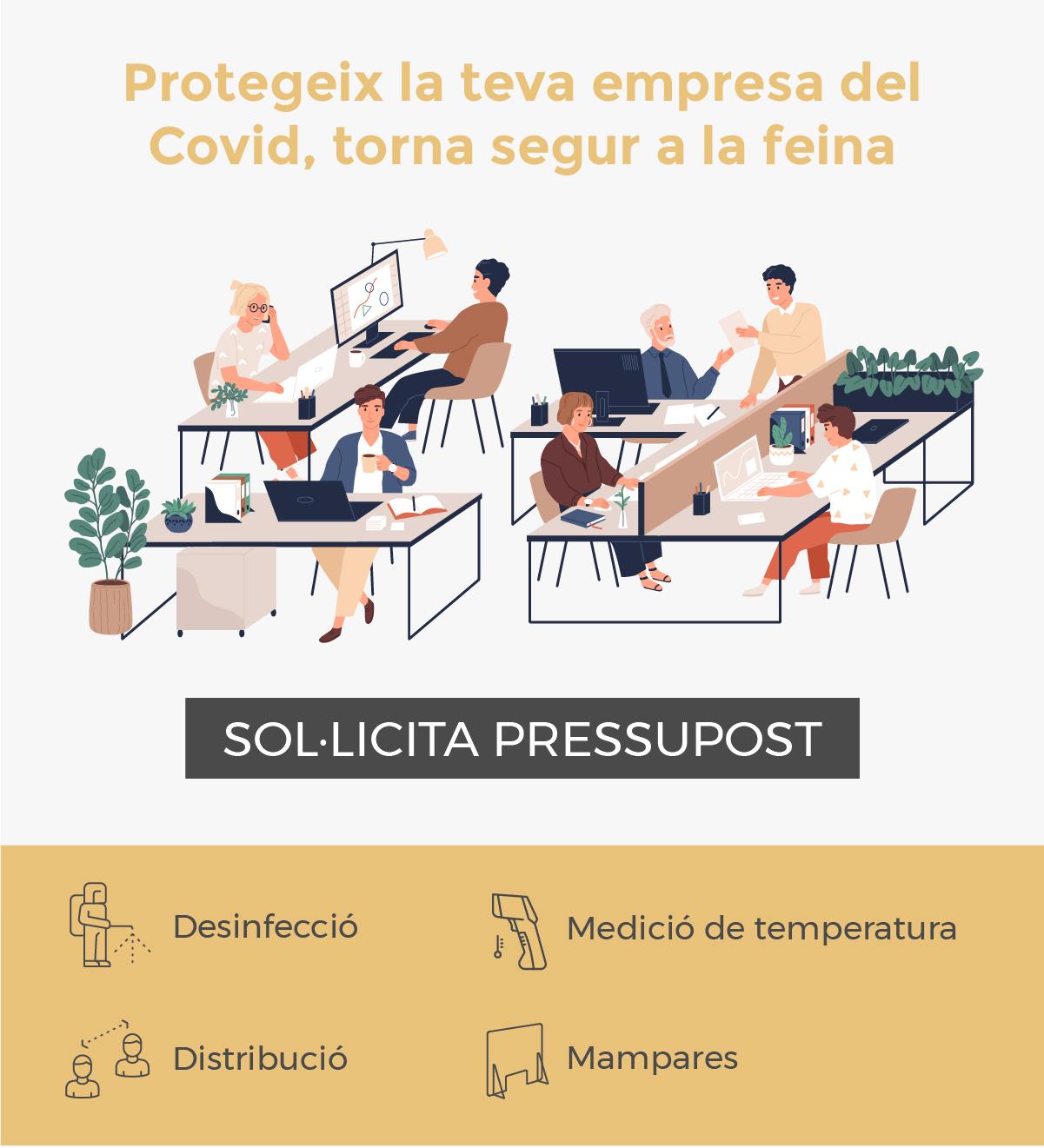 Infografia de protecció de Covid 19 a oficina
